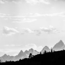 An artistic photo of the Tetons during the Fire in the Mountains festival 2019